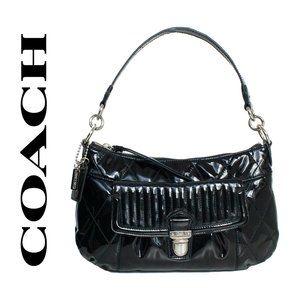 Coach Poppy Liquid Gloss Black Patent Leather Bag